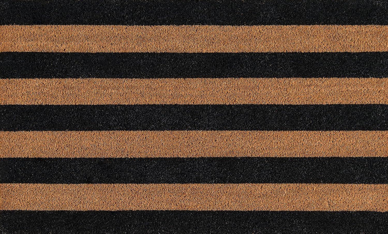 Erin Gates By Momeni Park Stripe Black Hand Woven Natural Coir Doormat 1 6 X 2 6 Furniture Decor
