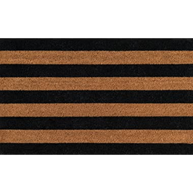 Erin Gates Park Collection Stripe Hand Woven Natural Coir Doormat 1'6  X 2'6 , Black