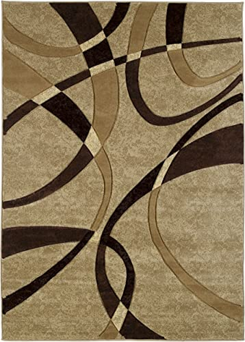 Segma United Weavers 510 21326 35C Contours La-Chic Rug, 2 7 x 4 2 , Chocolate