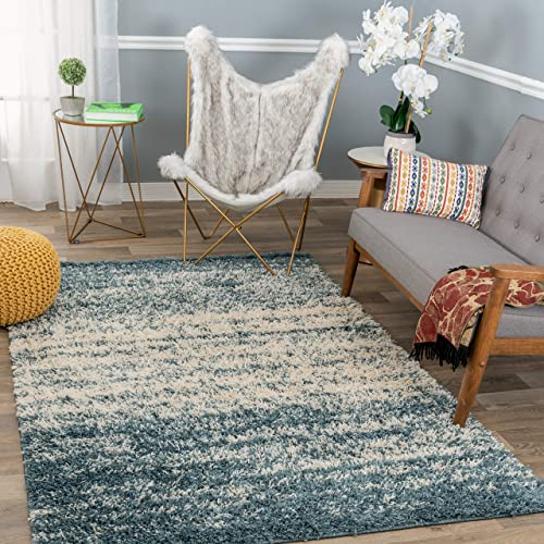 Rugshop Bondi Collection Distressed Ombre Contemporary Shag Area Rug 7'10″ x 10' Blue