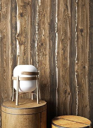 Holztapete In Braun Beige | Schöne Edle Tapete Im Natur Holz Design |  Moderne 3D