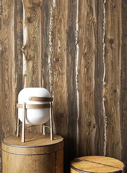 Holztapete in Braun Beige | schöne edle Tapete im Natur-Holz Design |  moderne 3D Optik für Wohnzimmer, Schlafzimmer oder Küche inklusive der ...