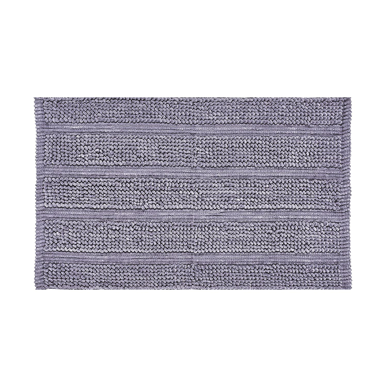 Contemporary Bath Rug Purple No-Skid Loop Texture Five Queens Court Laney Plush Stripe