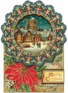 Amazon 24 greeting card assortment by punch studio holiday punch studio christmas dimensional greeting cards winter cathedral with gold foil embellishment set of m4hsunfo