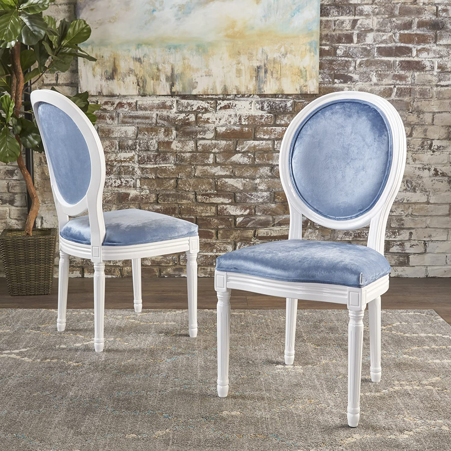 Christopher Knight Home Camille Traditional New Velvet Dining Chairs Set Of 2 , Icy Blue Gloss White