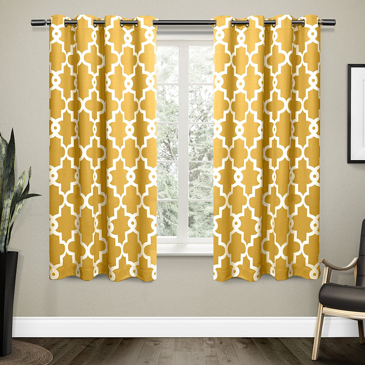 Ironwork Sateen Woven Blackout Thermal Grommet Top Window Curtain Panel Pair, Sundress