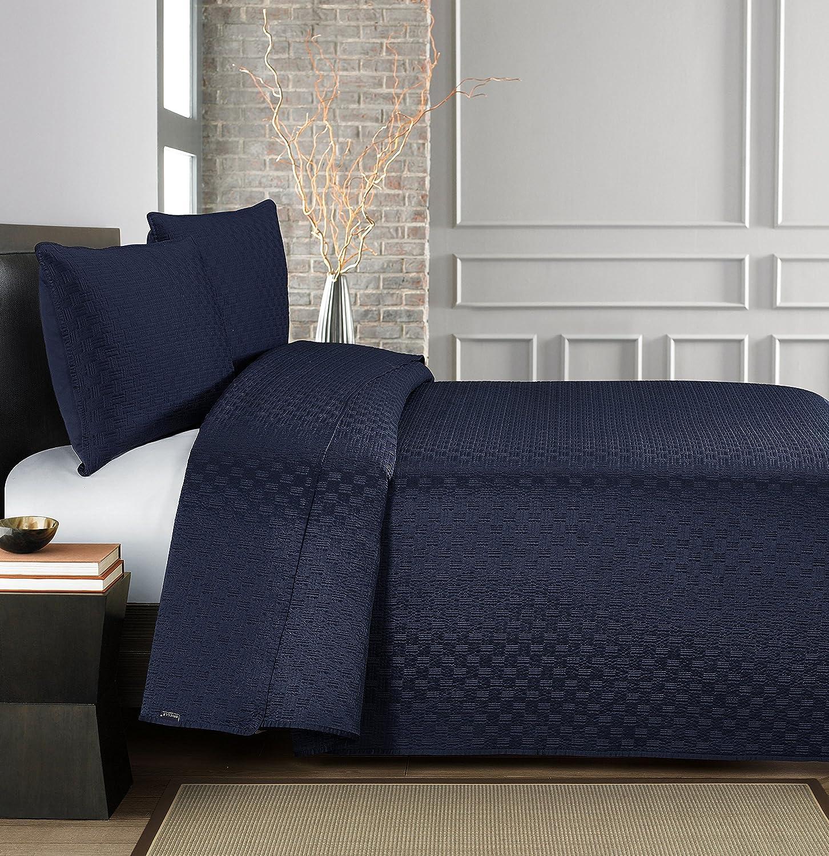 Brielle Basket Weave Quilt Set Full//Queen Navy 807000224135