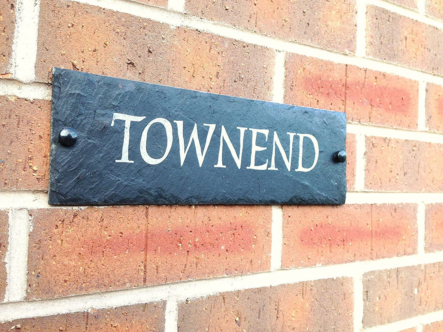 Amazon com slate house sign door address number house plaque 30x10cms 4 inch x 12 inch free postage garden outdoor
