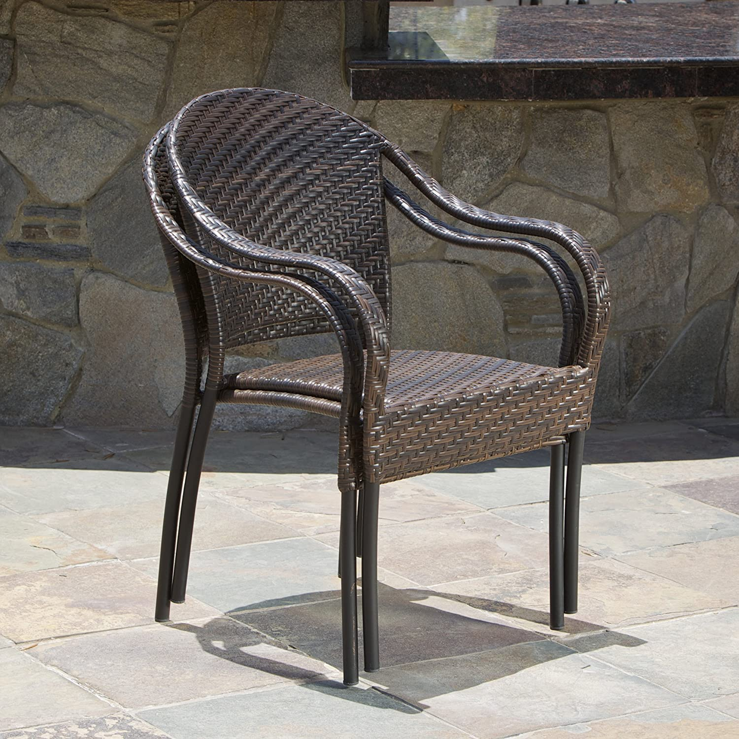 Great Deal Furniture 216404 Set of 2 Outdoor Stackable Wicker Dining Armchairs, Brown