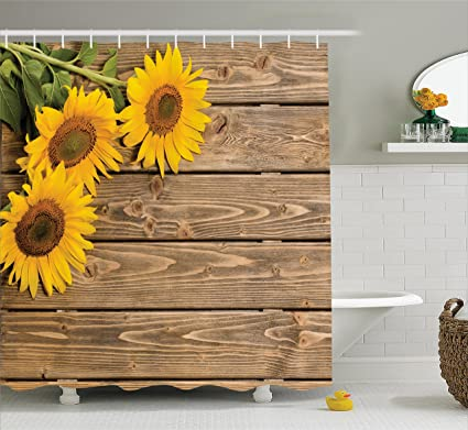 Ambesonne Sunflower Decor Collection, Three Sunflowers On The Wooden  Background At Left Top Corner Decorative