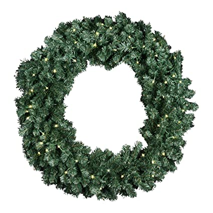 extra large 36 inch diameter balsam pine christmas wreath with 360 tips and 60 led lights - Battery Operated Christmas Wreaths With Timer