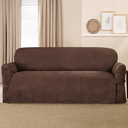 Amazoncom Sure Fit Faux Suede Sofa Slipcover Chocolate
