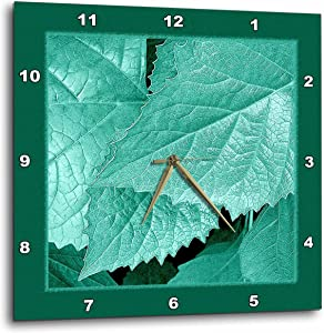 3dRose Jaclinart Nature Garden Leaves Floral Botanical - Turquoise Metallic Leaves with deep Teal Green Frame - 10x10 Wall Clock (DPP_33452_1)