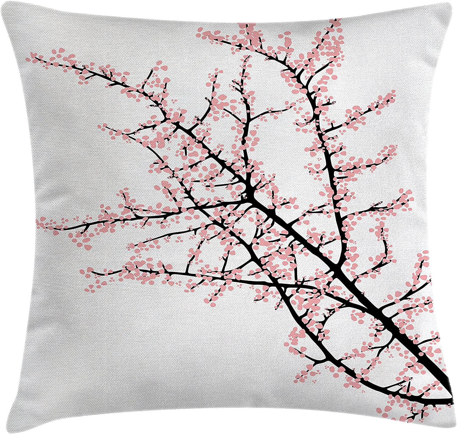 "Ambesonne Floral Throw Pillow Cushion Cover, Cherry Branch with Pink Blossom Traditional Style Illustration Asia Culture Themed, Decorative Square Accent Pillow Case, 16"" X 16"", Pink Black"