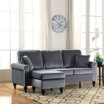 Classic And Traditional Small Space Velvet Sectional Sofa With Reversible  Chaise (Grey)