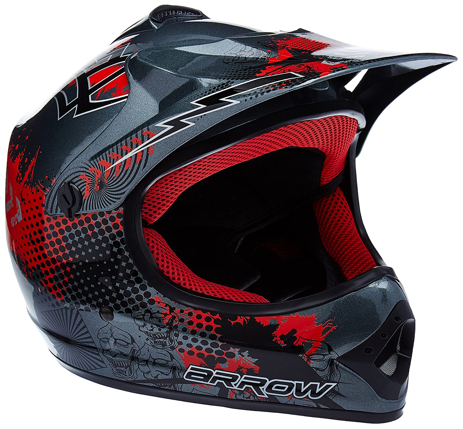 "red 57-58cm Armor /· AKC-49 /""Red/"" /· Kids-Cross Helmet /· Enduro Off-Road MX Motorcycle Child Moto-Cross-Helmet /· DOT certified /· Click-n-Secure/™ Clip /· Carrier Bag /· L"