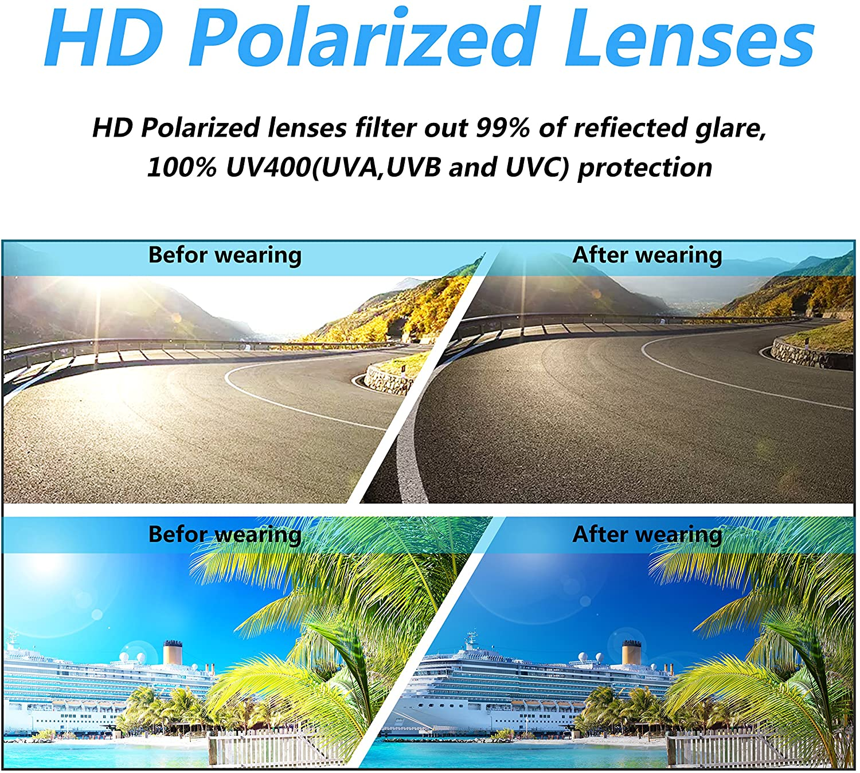 PUKCLAR Aviator Sunglasses for Men Polarized Womens Sunglasses Mirrored Lens Driving Sunglasses