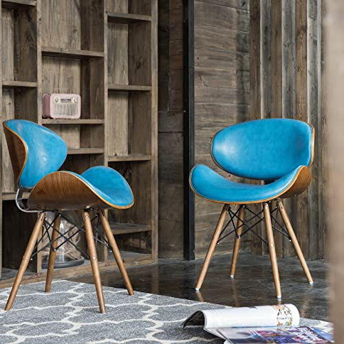 Mid Century Teal Upholstery Set of 2 Accent Dining Side Chairs with Curved Seat and Metal Frame – Includes Modhaus Living Pen 2