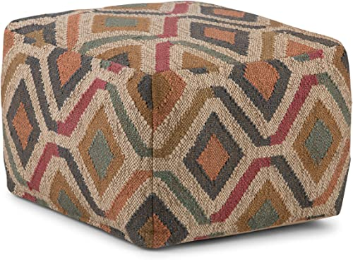 Simpli Home Johanna Square Pouf, Footstool, Upholstered in Kilim Patterned Jute, for the Living Room, Bedroom and Kids Room, Transitional, Modern