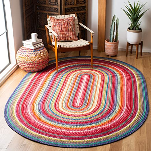 9 x 12 Oval 9 feet by 12 feet Oval Safavieh Braided Collection BRD303A Hand Woven Rust and Multi Oval Area Rug