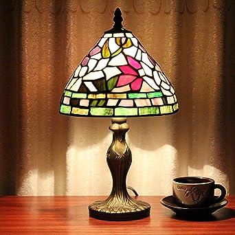 LILSN 8 pulgadas bar Lámpara de mesa de cristal Tiffany cono ...