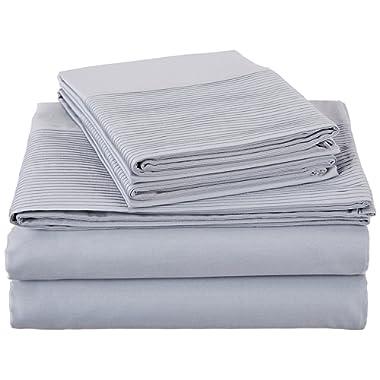 Pinzon 400-Thread-Count Egyptian Cotton Sateen Pleated Hem Sheet Set - Queen, Dusty Blue