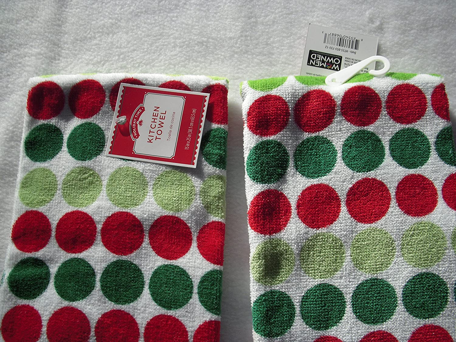 Amazon.com: Holiday Time Kitchen Towel with Dots set of 2: Home & Kitchen
