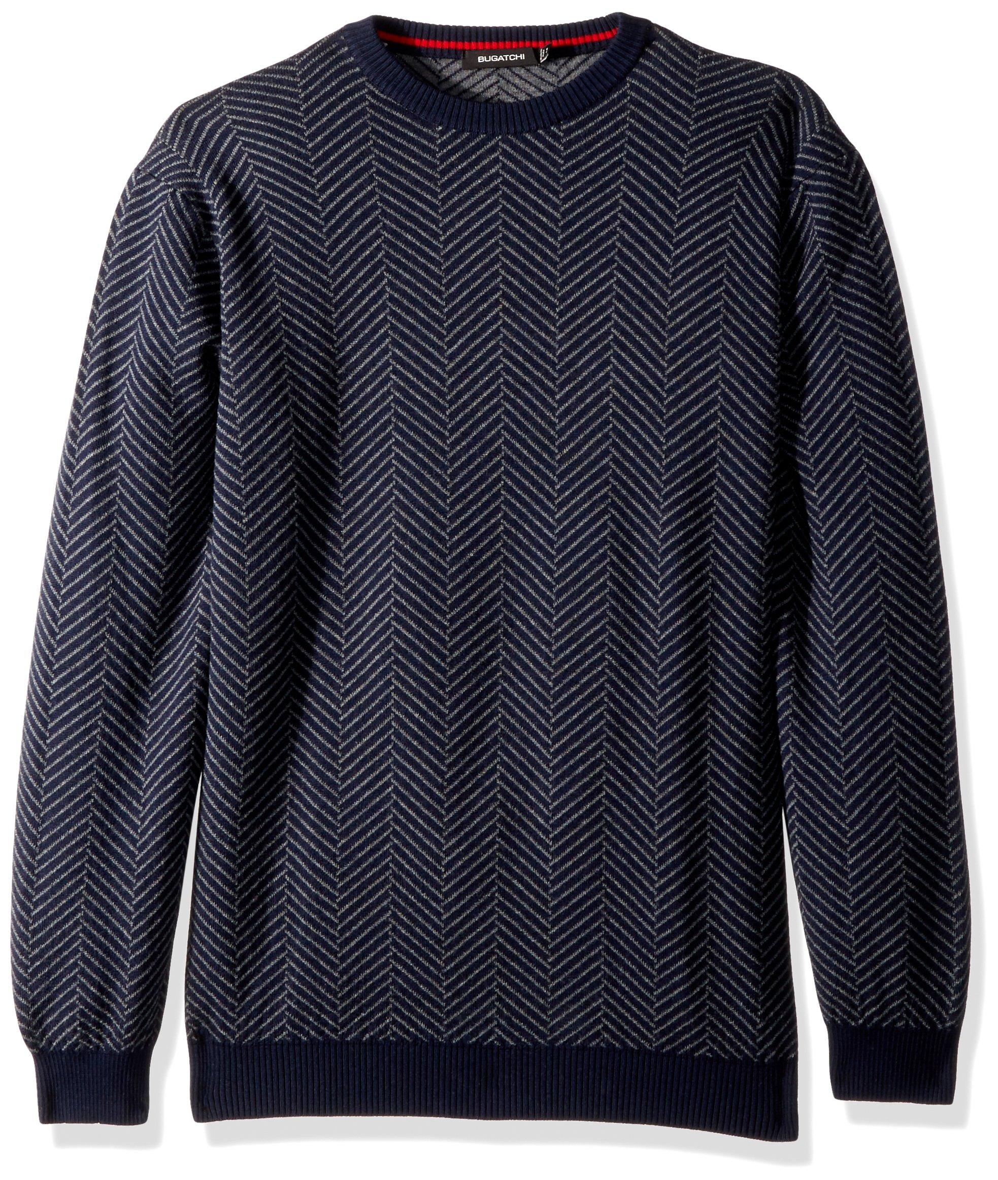 BUGATCHI Men's Extra Fine Merino Wool Crew Neck Sweater, Navy, Large