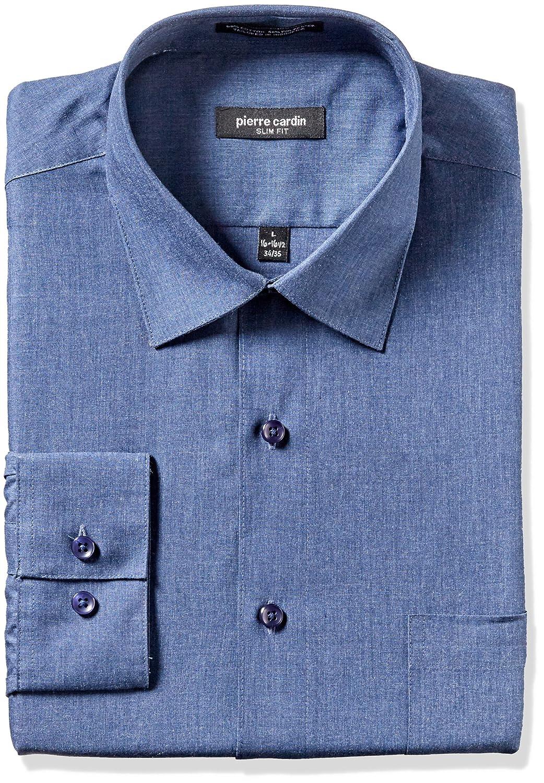 Pierre Cardin Mens Solid Slim Fit Semi Spread Collar Dress Shirt At