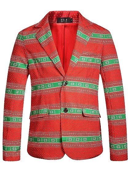 Sslr Men S Xmas Funny Ugly Christmas Blazer Jacket At Amazon Men S