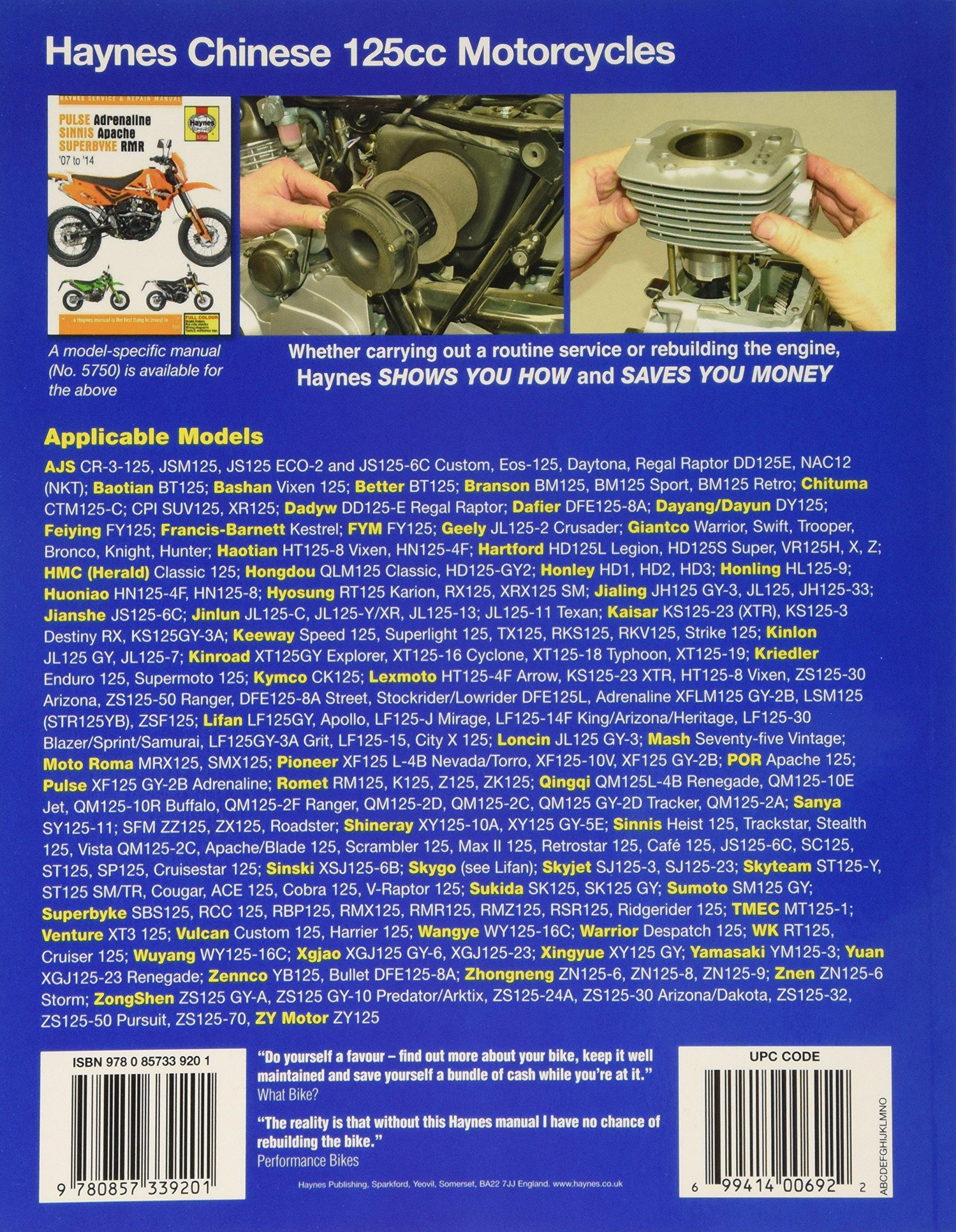 Chinese, Taiwanese & Korean 125cc Motorcycles (Haynes Powersport):  Amazon.co.uk: Anon: 9780857339201: Books