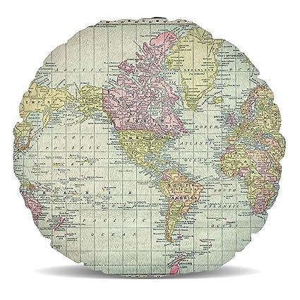 Amazon.com: Queen of Cases Antique World Map 1913 Fleece Cushion ...