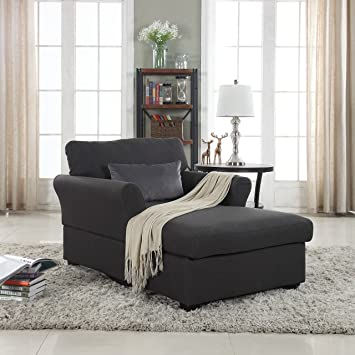 Amazon.com: Large Classic Linen Fabric Living Room Chaise Lounge ...