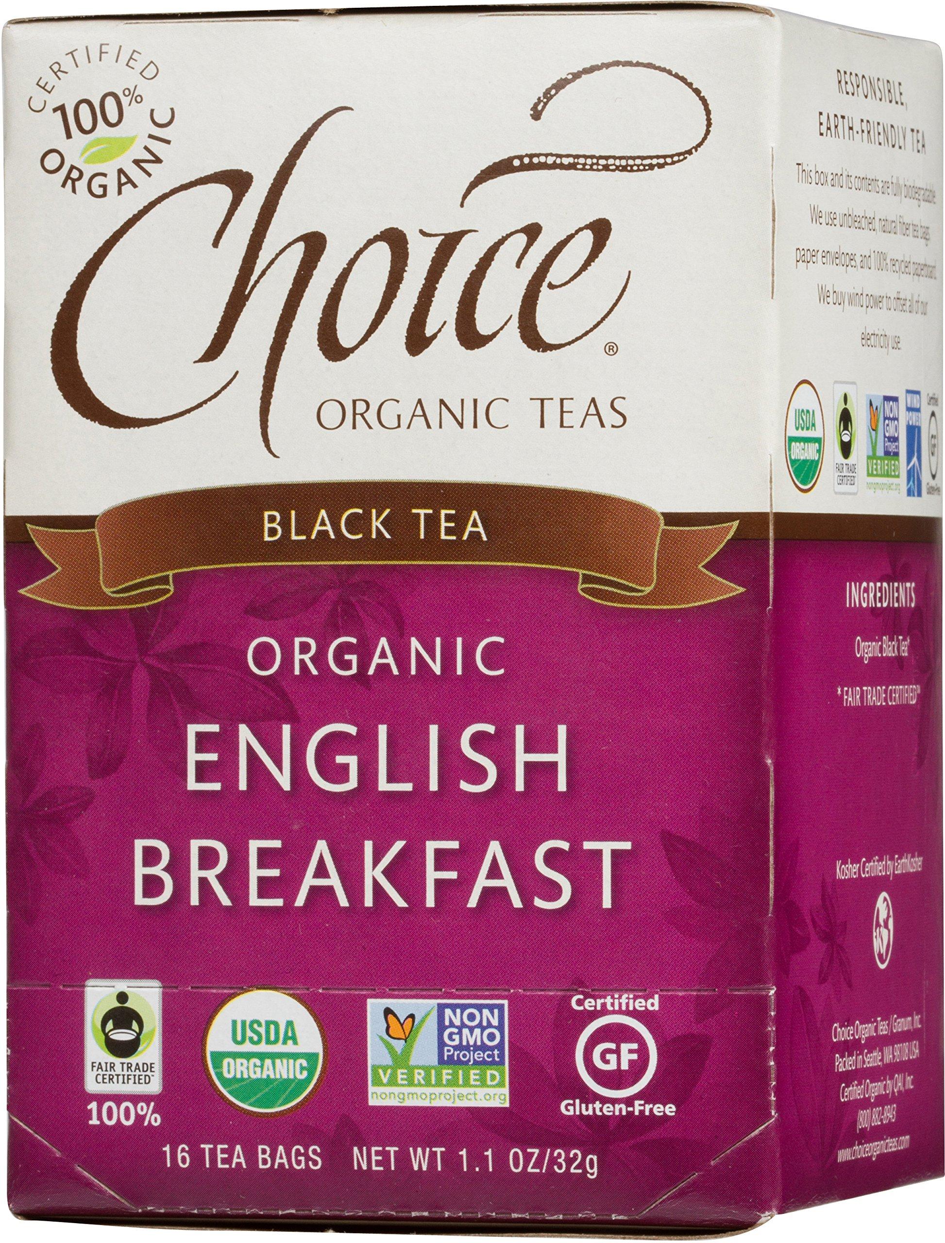 Choice Organic English Breakfast Black Tea, 16 Count Box