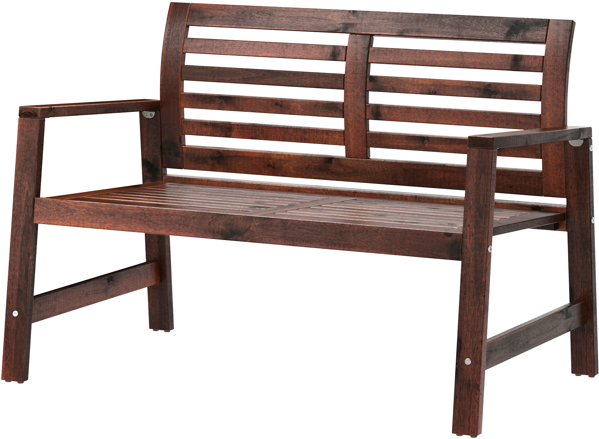 ÄPPLARÖ Bench with backrest, outdoor - brown stained, - IKEA