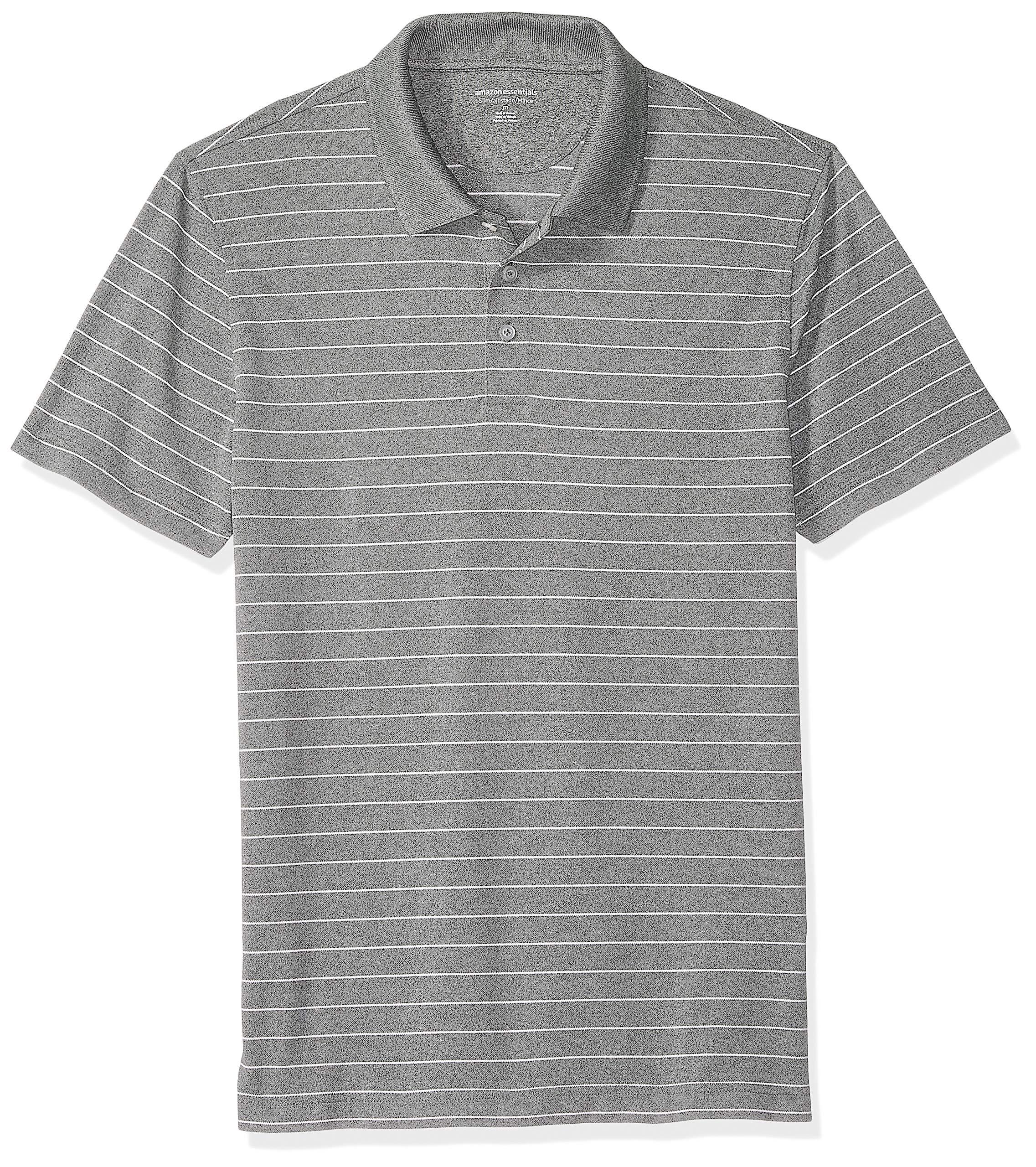 Amazon Essentials Men's Slim-Fit Quick-Dry Golf Polo Shirt, Medium Gray Heather Stripe, X-Small