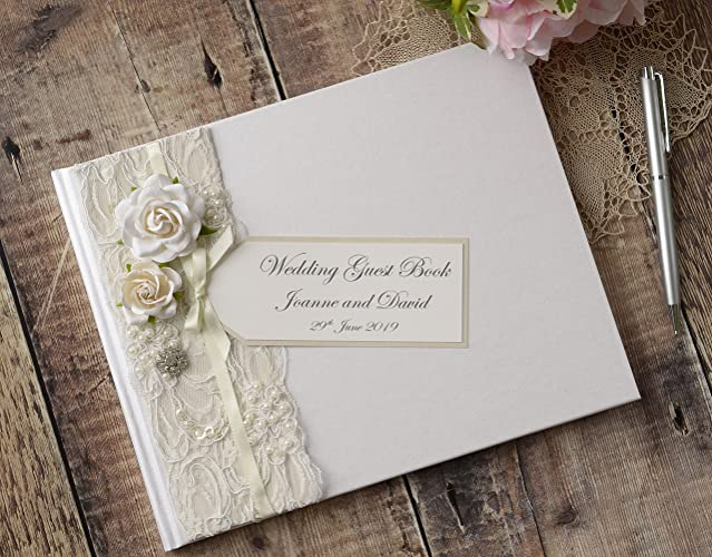Personalised Wedding Guest Book. Luxury Vintage Style Rose, Lace ...