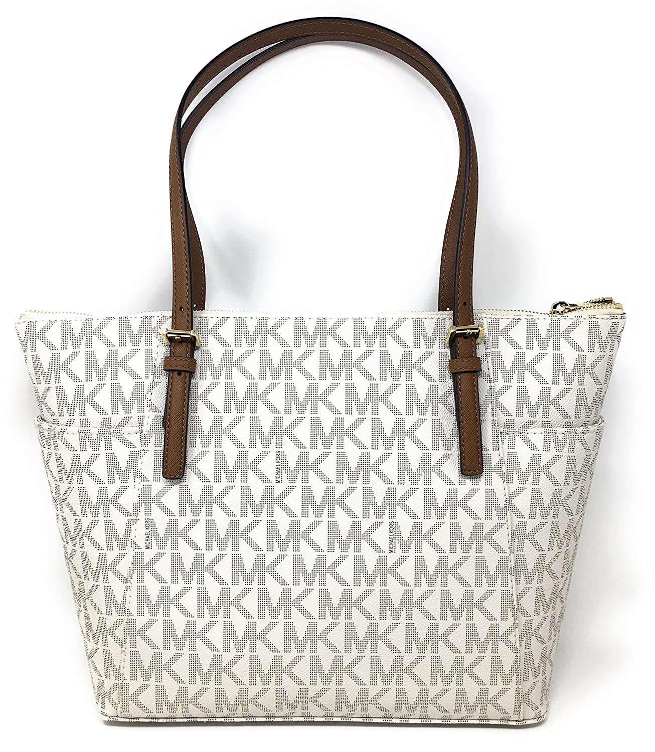 e6c60b628ad2 Amazon.com  Michael Kors Jet Set Item Large East West Signature Top Zip PVC  Tote (Vanilla   Luggage)  Watches
