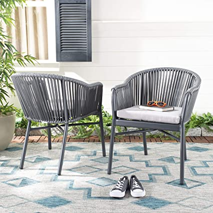 Rope Patio Furniture.Amazon Com Safavieh Pat4026a Set2 Outdoor Collection Stefano Grey