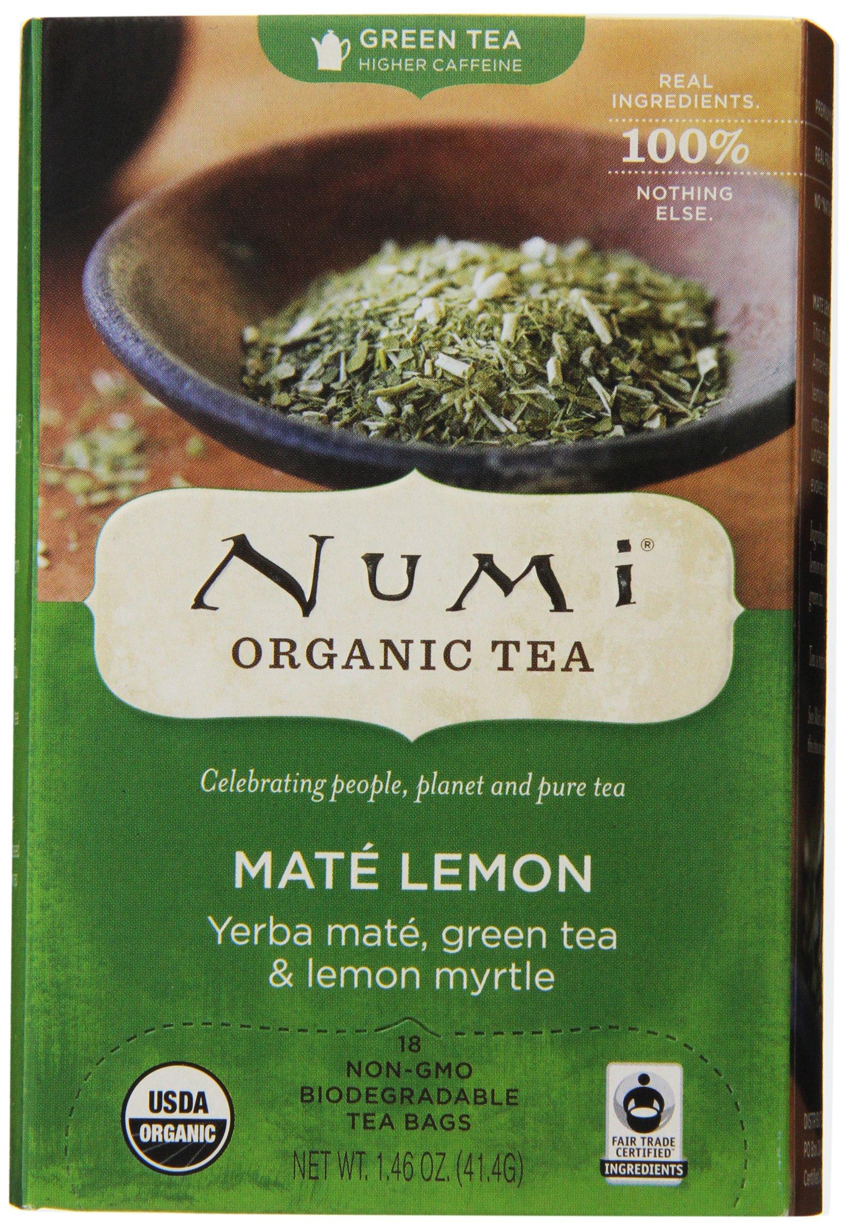 Numi Organic Tea--Lemon Yerba Mate Green Tea & Lemon Myrtle--18 Count Non-GMO Biodegradable Tea Bags--Premium Organic Tea