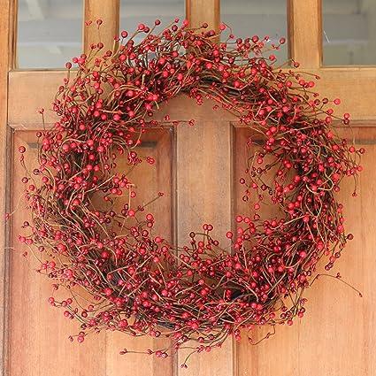 Everton Red Berry Wreath 24 Inch -Gorgeous Winter Front Door Wreath Design Will Embellish Decor & Amazon.com: Everton Red Berry Wreath 24 Inch -Gorgeous Winter Front ...