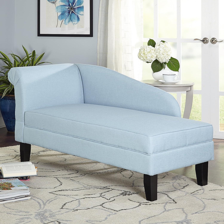 Blue Cotton Storage Chaise Lounge