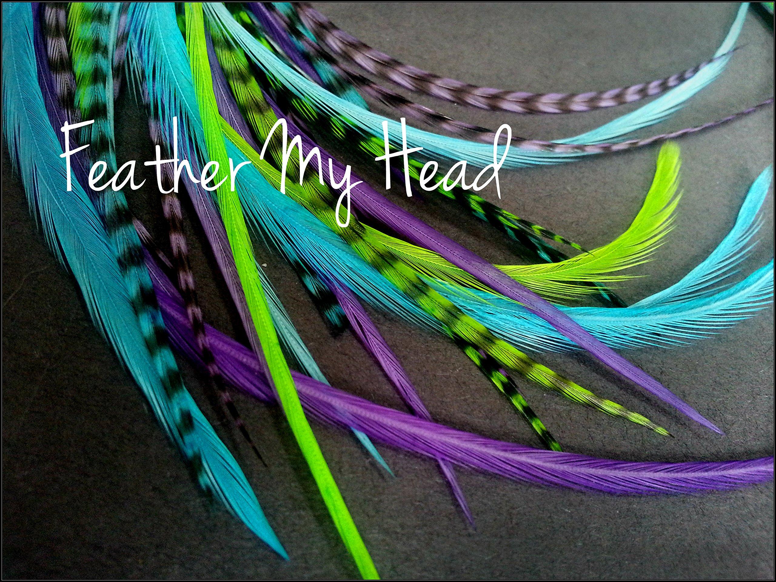Feather Hair Extensions - 16 Piece - Purple Green Blue - Caribbean (9'' - 12'' 23 - 29 cm ) Long)