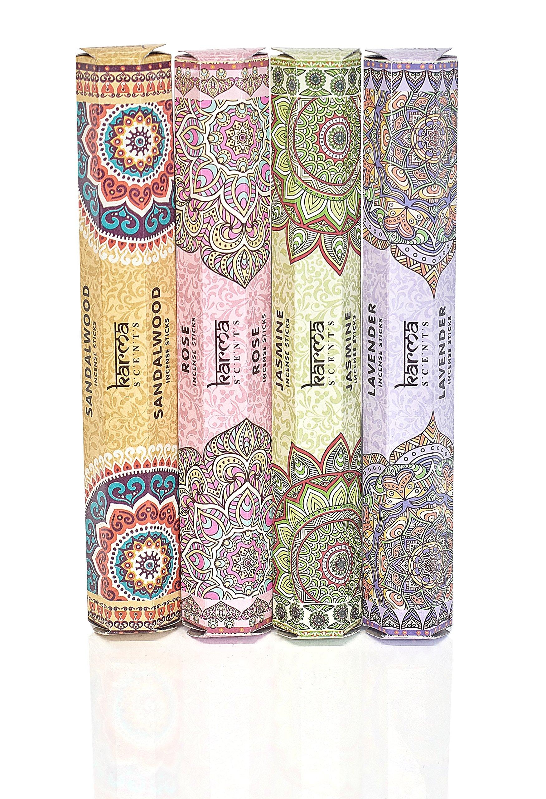 Premium Incense Sticks Sandalwood, Jasmine, Rose and Lavender Variety 56 Sticks Gift Pack With Sparkly Incense Burner