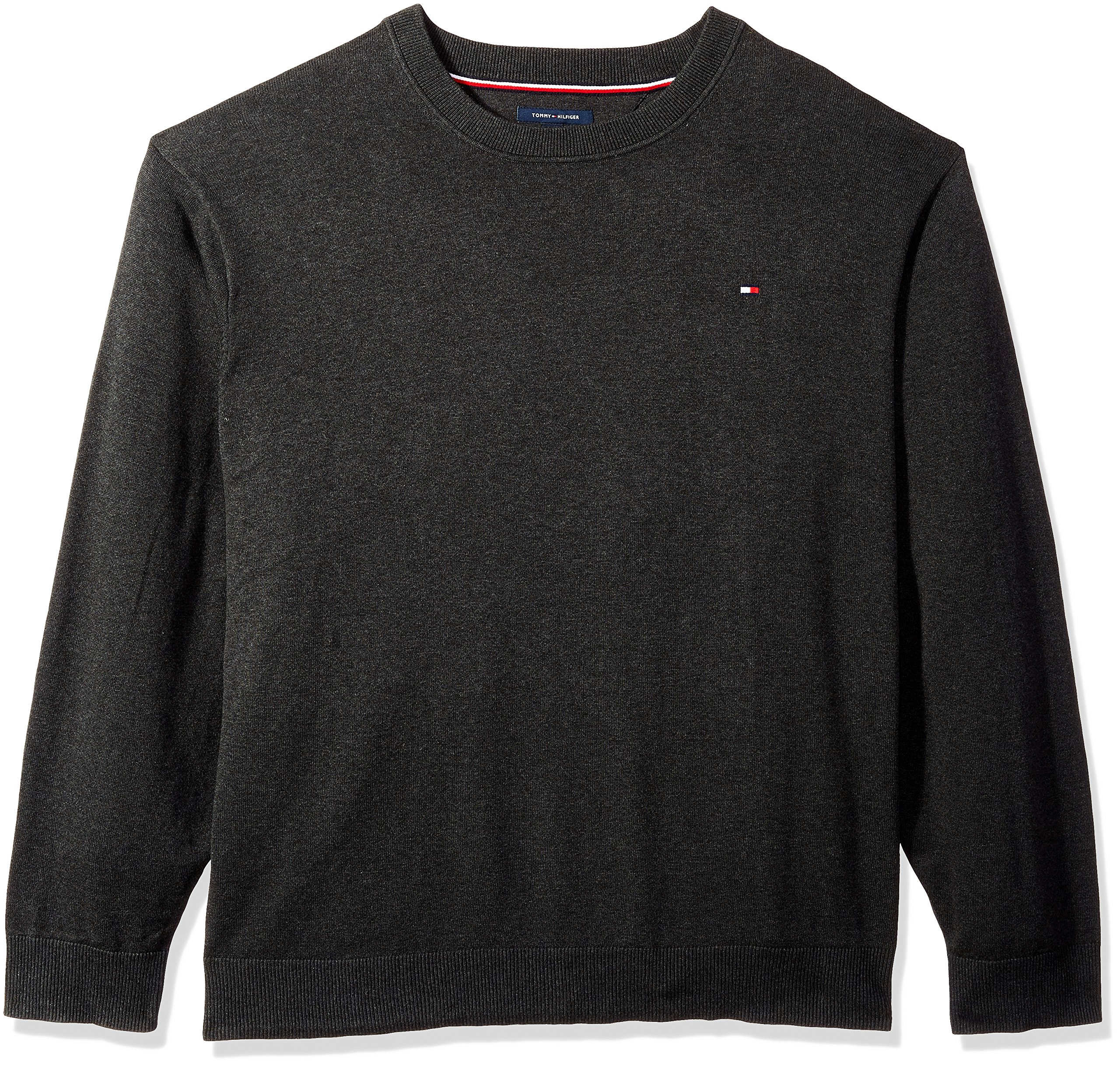 Tommy Hilfiger Men's Big and Tall Sweater Signature Solid Crewneck, Charcoal Grey Heather, BG-2XL