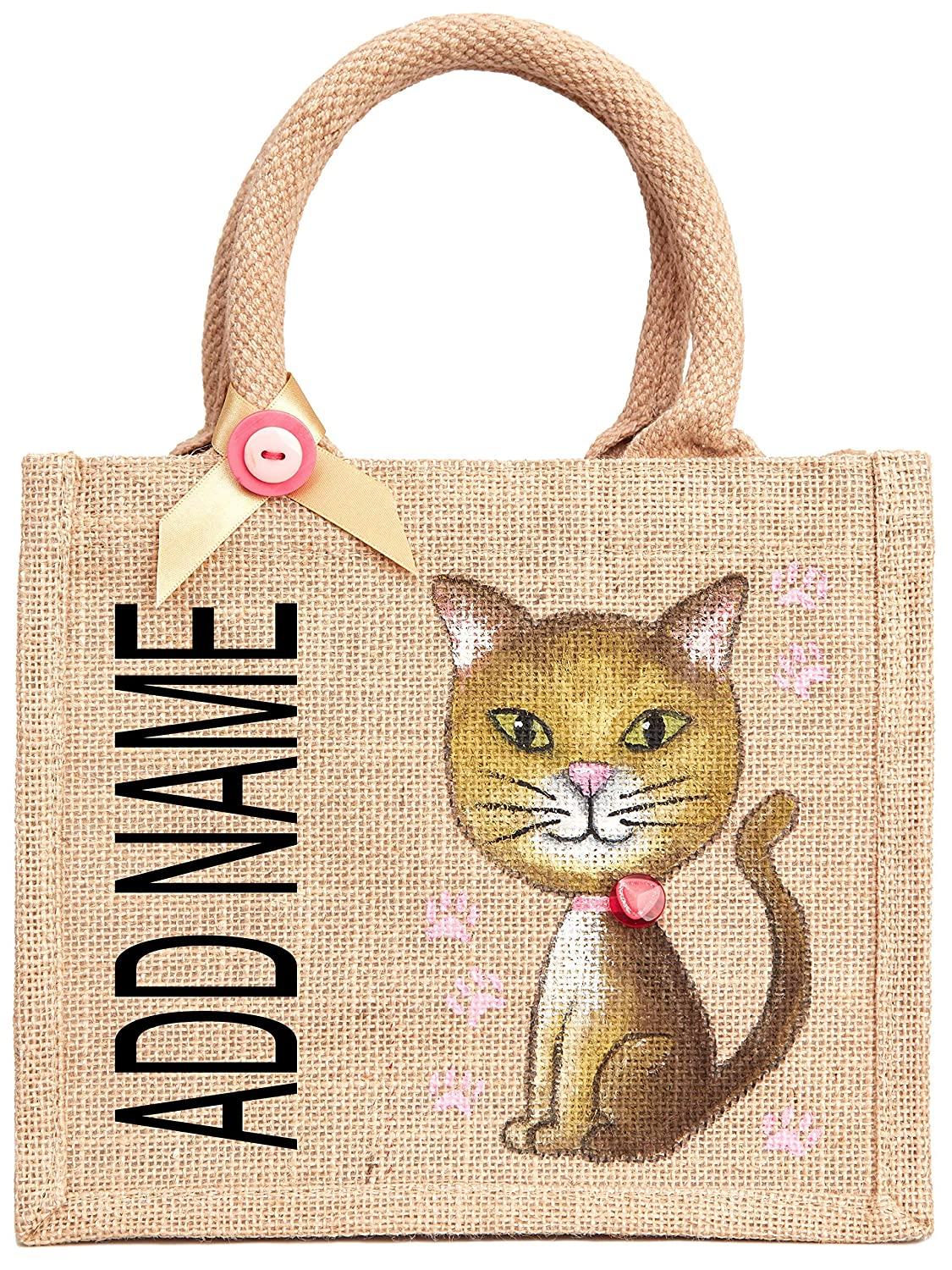 Personalised Cat Bag Add Your Name Eco Friendly Small Tote Pet Bag 20 X 22cm Cat Lovers Gift Animal Toy Bag Gift Ideas For Animal Lovers Amazon Co Uk Handmade