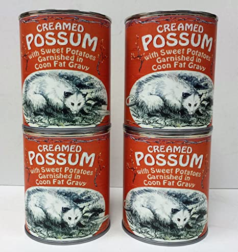 Gag Gift 4-Pack of Creamed Possum in Coon Fat Gravy Garnished with Sweet  Potatoes