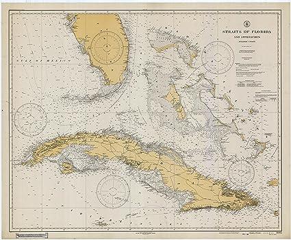Cuba To Florida Map.Amazon Com Straights Of Florida Cuba Historical Map 1933 13 X19