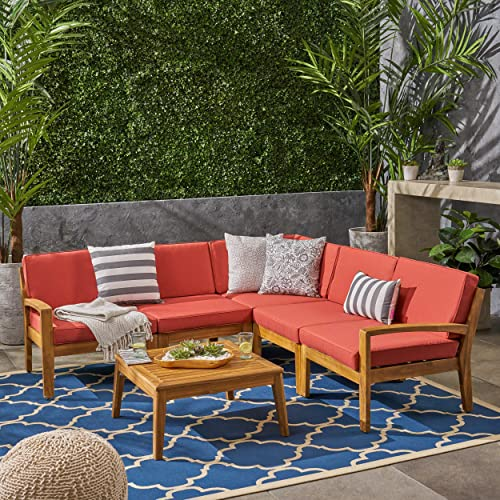 Roy Outdoor Acacia Wood 5 Seater Sectional Sofa Set