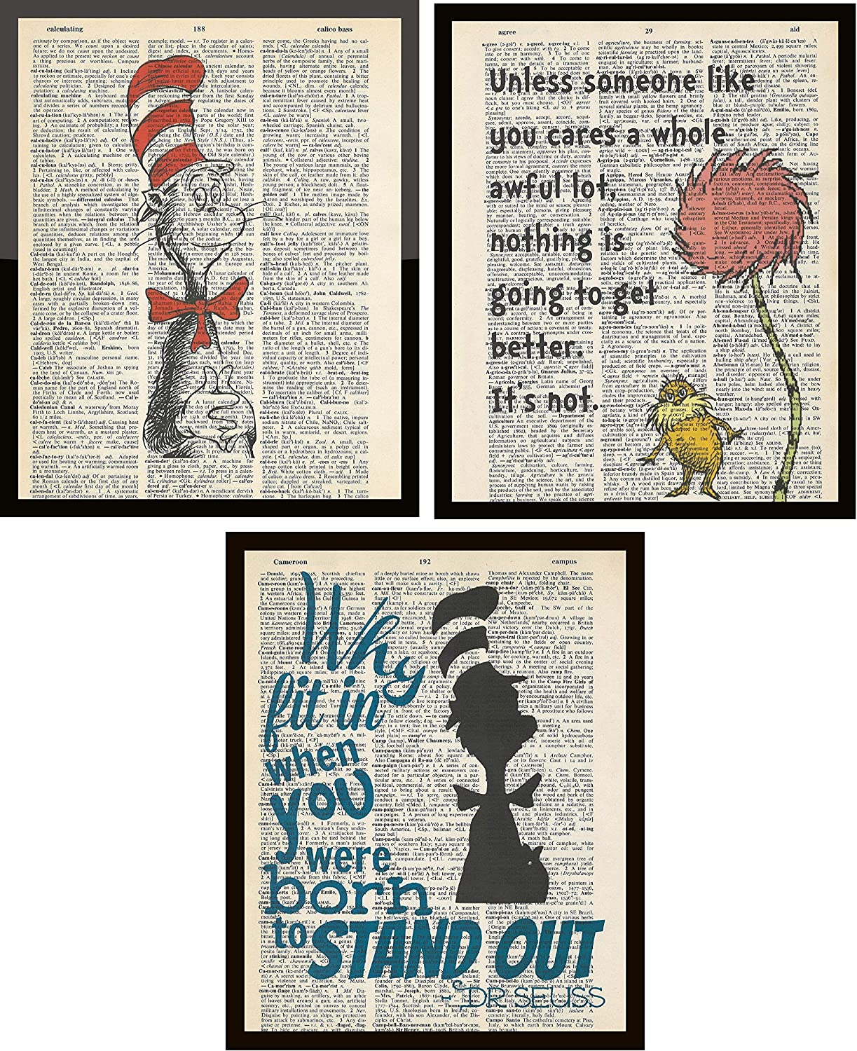 Set of 3 Dr. Seuss Dictionary Page Artwork Prints Picture Poster Home Office Bedroom Nursery Kitchen Wall Decor - unframed